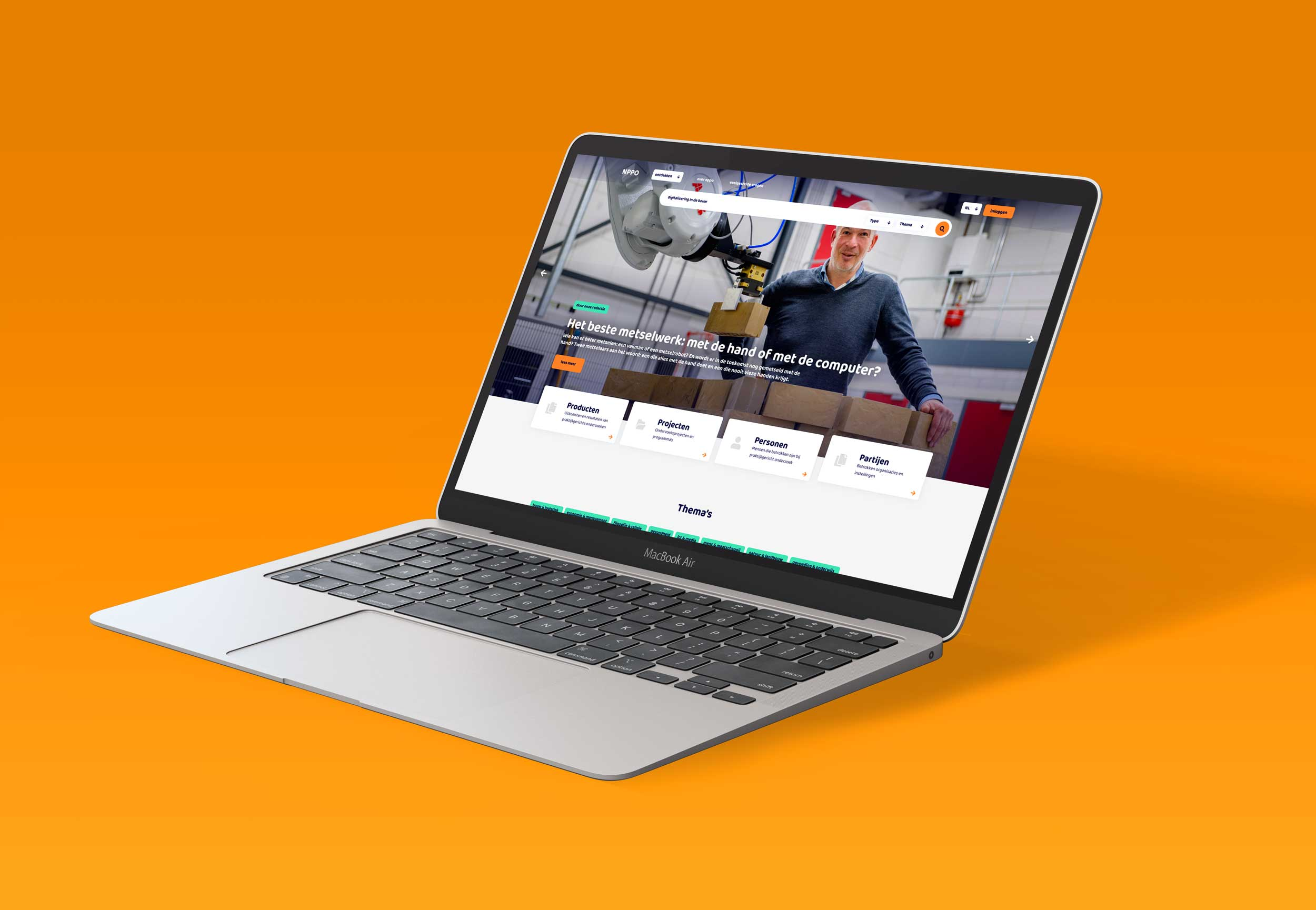 Desktop mock-up Publinova applicatie