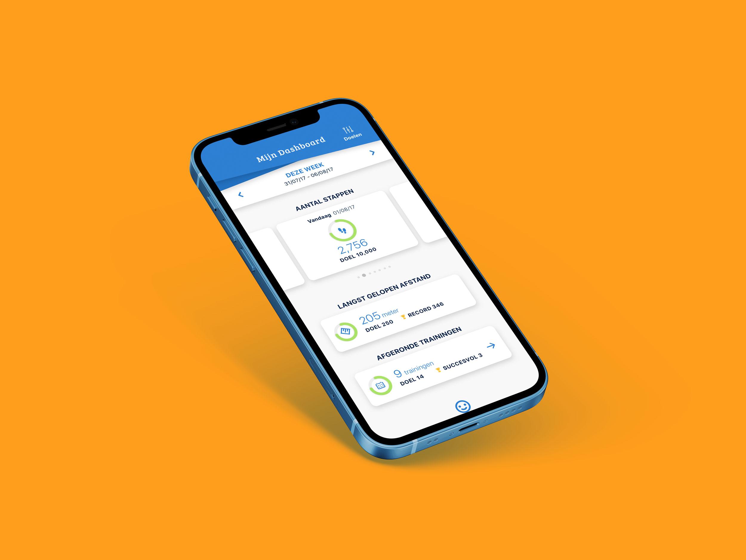 Mobiele mock-up van Stappy applicatie