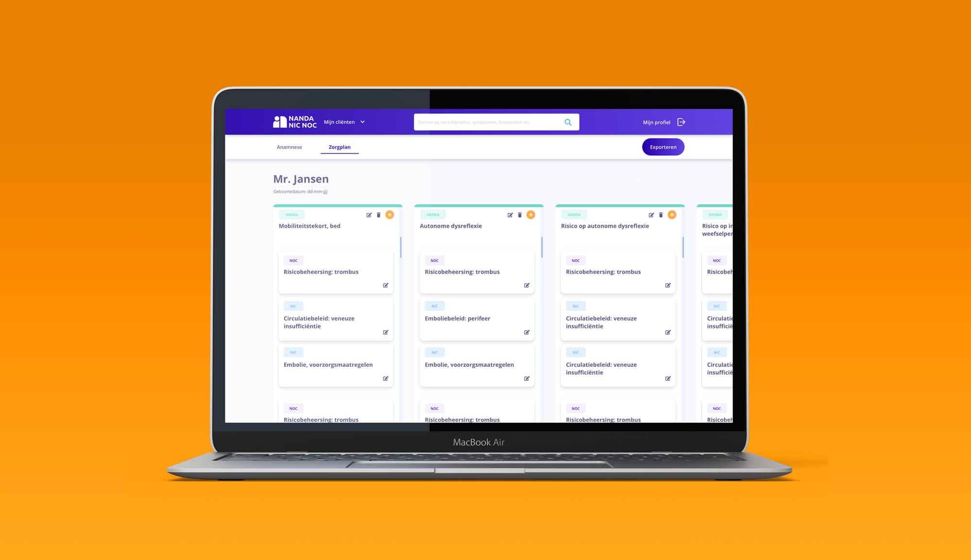 Desktop mock-up praktijktool applicatie voor verpleegplannen