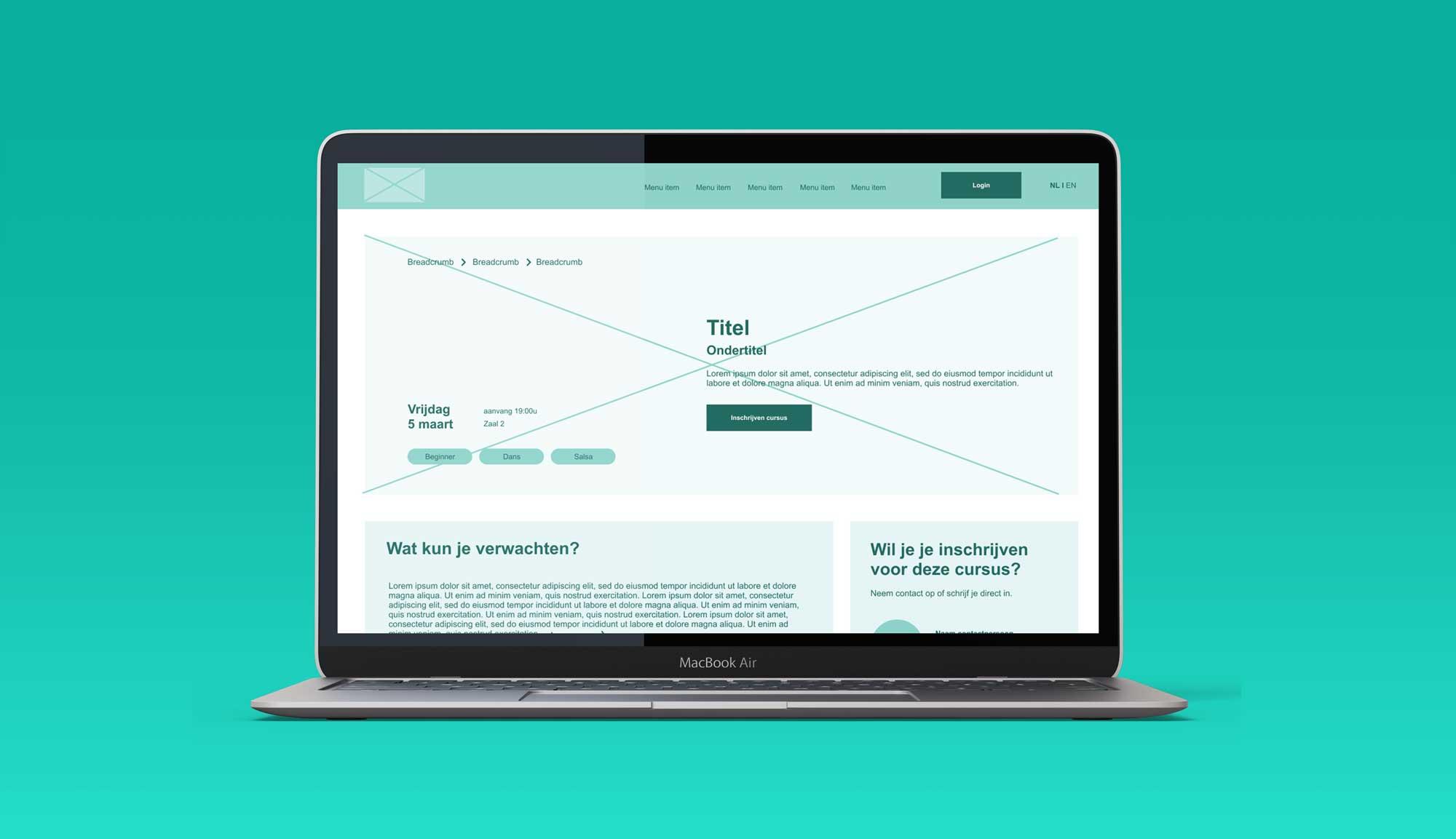 Dekstop mockup digitale wireframes website